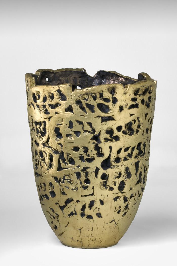 Golden vase h 90 cm